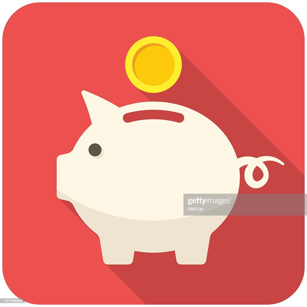 White piggy bank icon with a gold coin on a red background