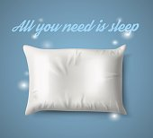 White Pillow with magic on Blue Background, Real Shadow. Vector