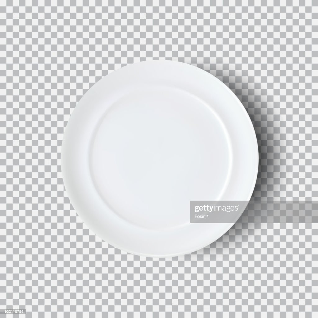 White plate isolated on transparent background
