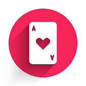 White Playing card with heart symbol icon isolated with long shadow. Casino gambling. Red circle button. Vector Illustration