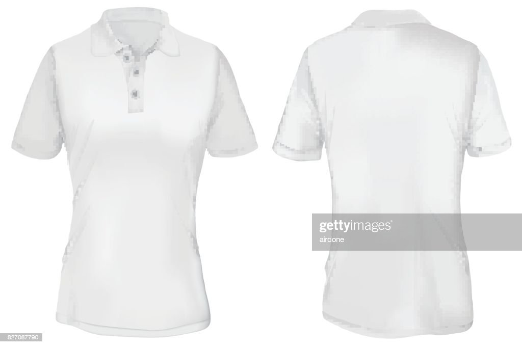 White Polo Shirt Template for Woman