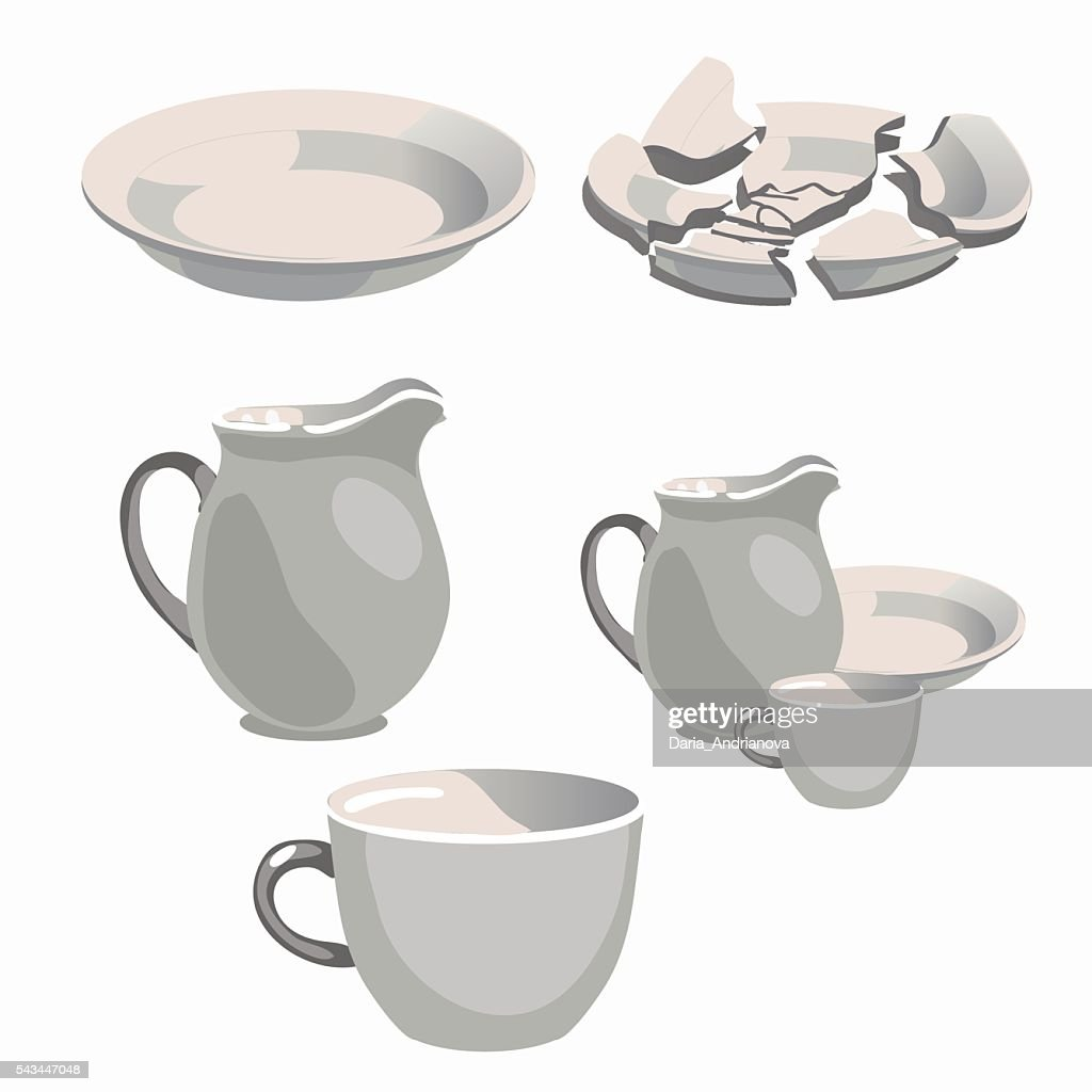 White porcelain kitchen utensils and broken plate