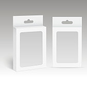 White Product Package Box With Hang Slot and plastic window. Mock Up. Vector.
