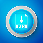 White PSD file document icon isolated on blue background. Download PSD button sign. Circle blue button with white line. Vector Illustration