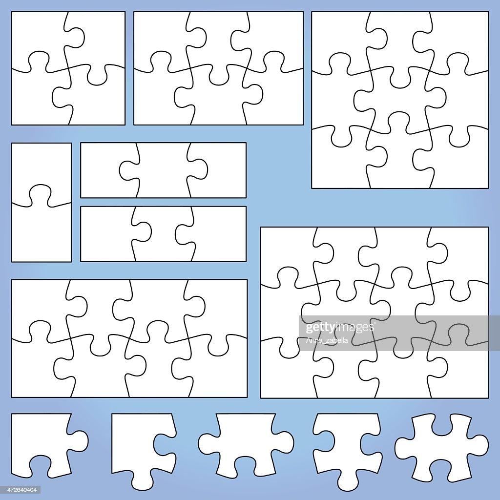 White puzzle set on blue background