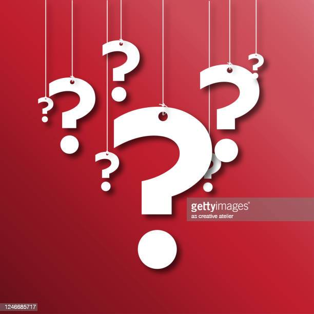 white question marks with string over red background - question mark stock illustrations