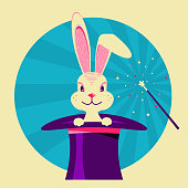 White rabbit in magical hat.Vector label of magic show