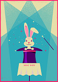 White rabbit in magical hat.Vector poster of magic show