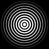 White radiation concentric cirles on black background