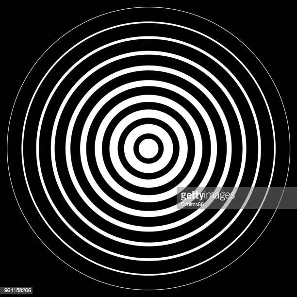 white radiation concentric cirles on black background - radioactive contamination stock illustrations