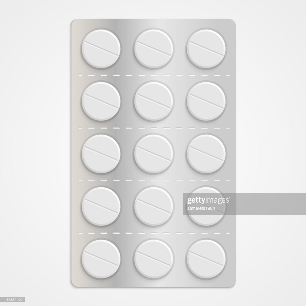 White realistic medical pills in blister pack.