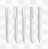 White realistic pen set on isolated background. Vector set of corporate identity, branding stationery. Realistic vector EPS10 - stock vector.