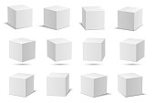 White realistic vector cube set with shadows.