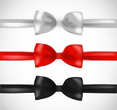 White, red and black ribbon bow vector set