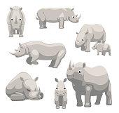 White Rhinoceros with Baby Cartoon Vector Illustration