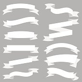 White Ribbons Set isolated On White Background. Vector Illustration