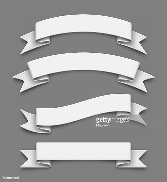 white ribbons - ribbon sewing item stock illustrations, clip art, cartoons, & icons
