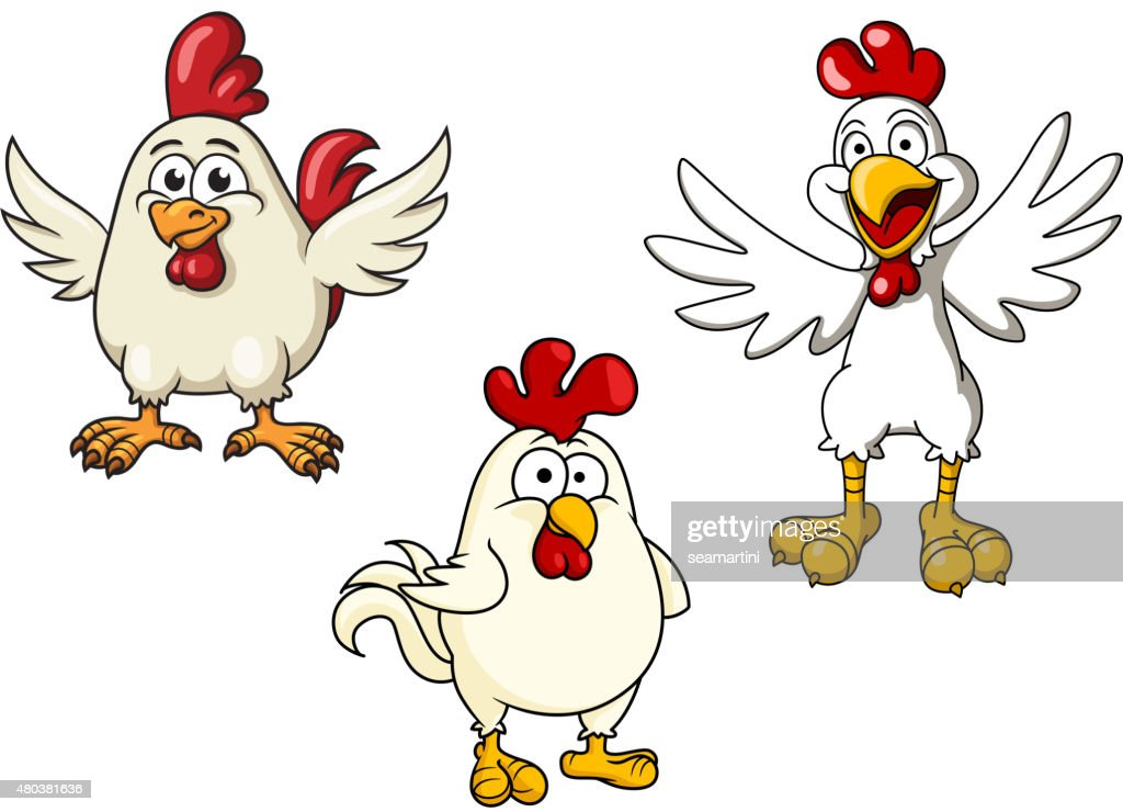 White roosters and cocks cartoon characters
