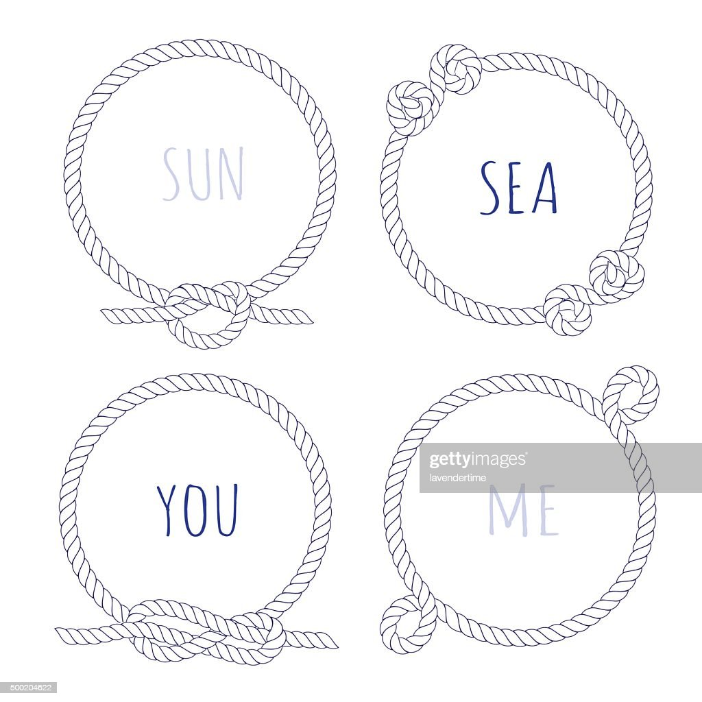 White rope round vector design frame set