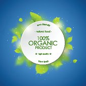 White round circle with green plants. Organic background template.
