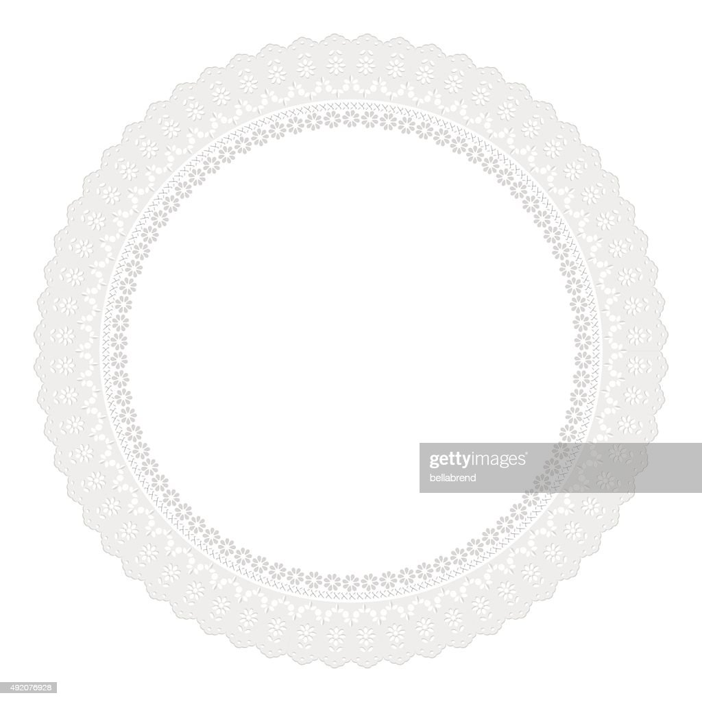 White round openwork napkin on white background.
