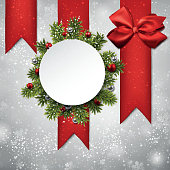 White round paper christmas card.