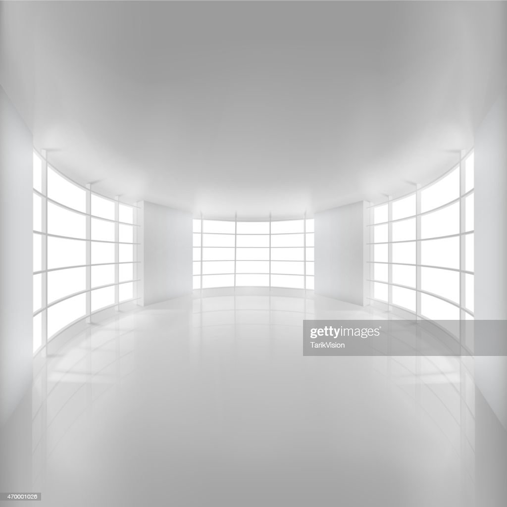 White Rounded Room Illuminated by Sunlight.