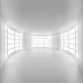 White Rounded Room Illuminated by Sunlight.