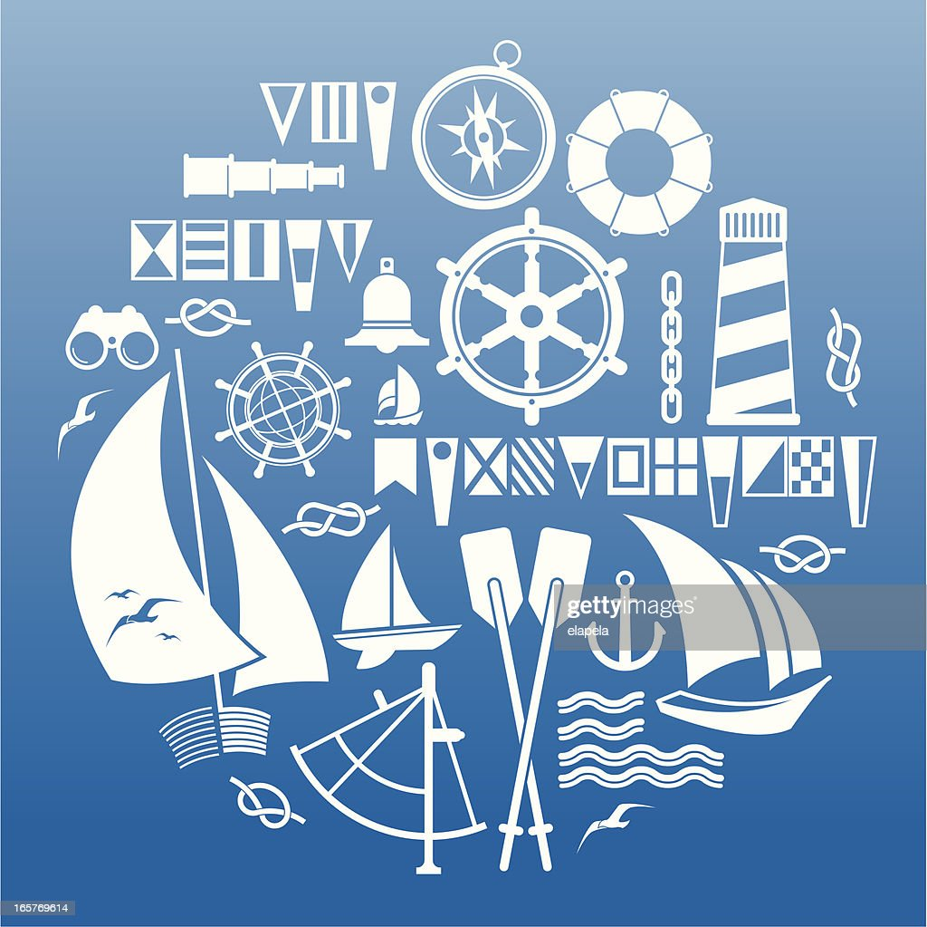 white sailing symbols on blue background vector art getty images