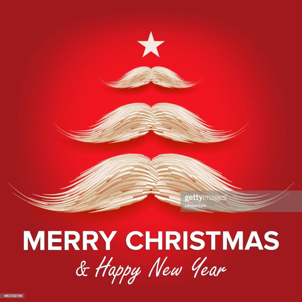 Weißen Santa S In Form Von Weihnachtsbaum Schnurrbart Frohe ...