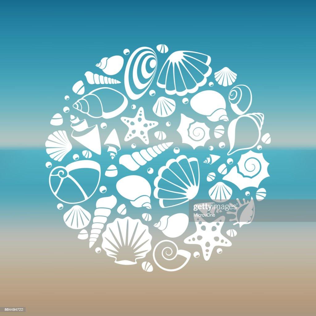 White seashell silhouette round concept