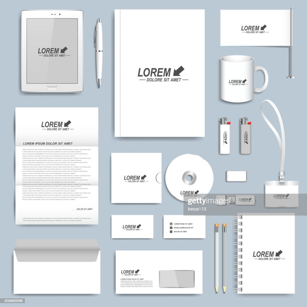 White set of vector corporate identity templates. Modern business stationery
