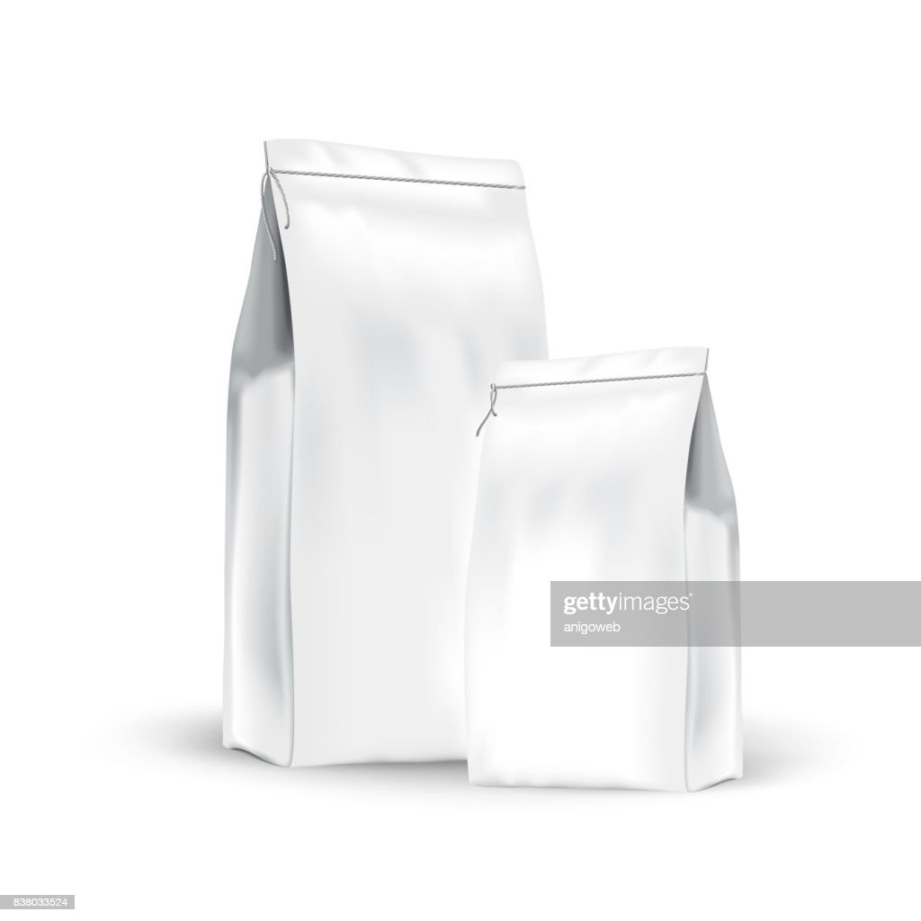 White set paper bags for bulk products, tea, coffee, spices. Package mockup prezantation your products.