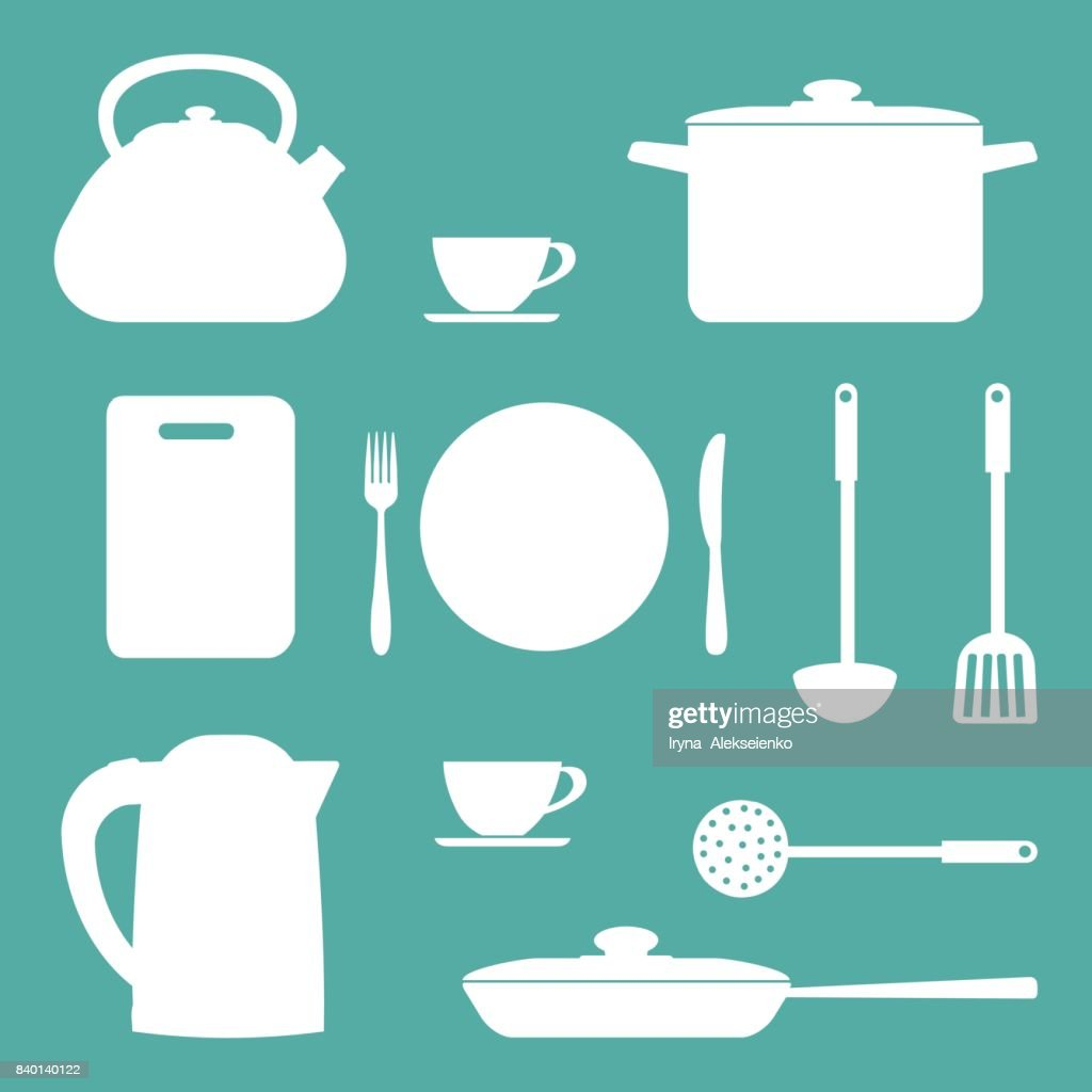 White Shapes Of Kitchen Utensils And Tools On A Blue Background ...