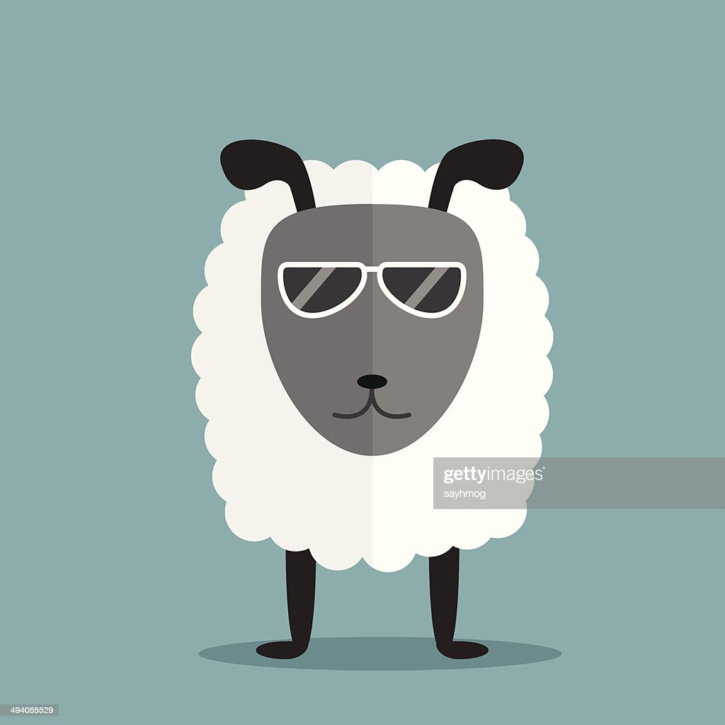 white sheep with glasses