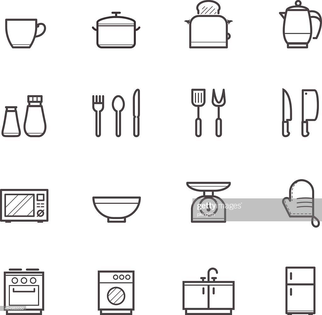 White sheet of various kitchen icons