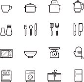 White sheet of various kitchen icons
