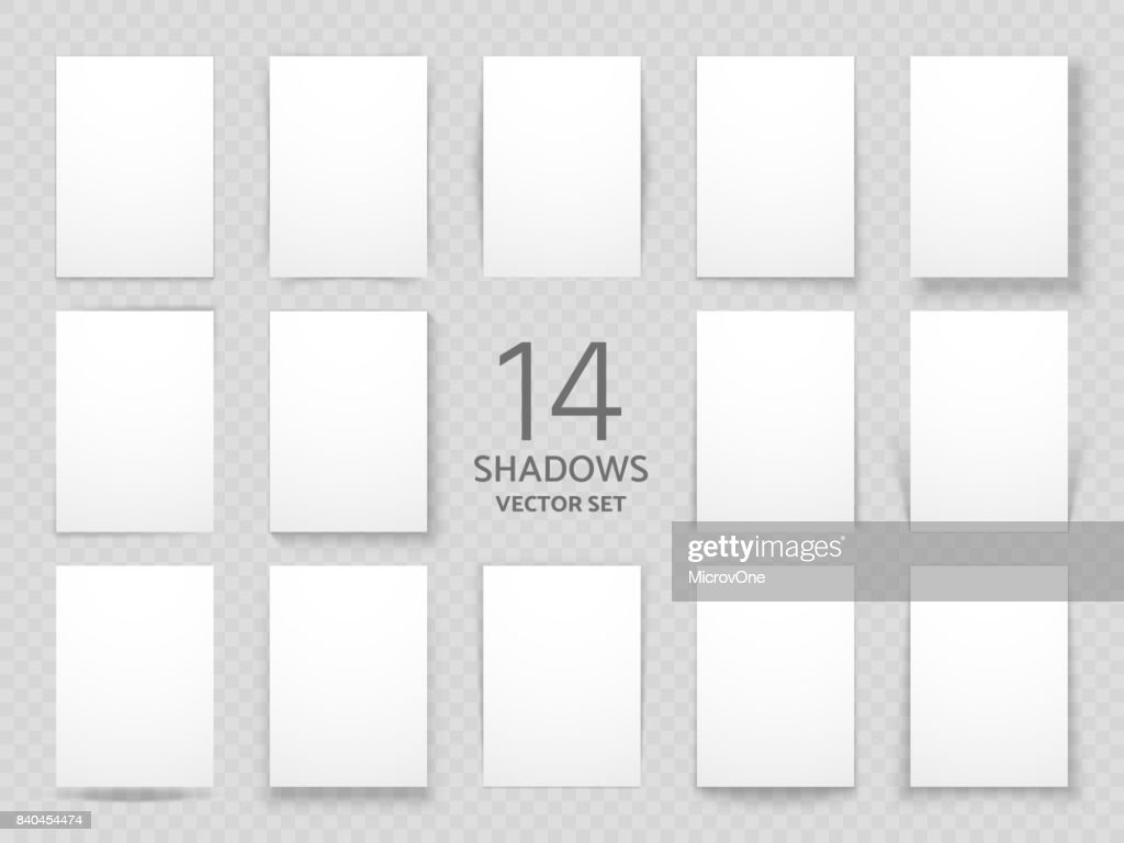 White sheets of paper with different drop shadow effects. Vector shadows template for posters and background decoration