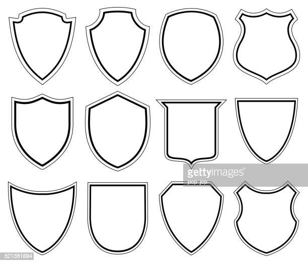 white shield icons - illustration - shield stock illustrations