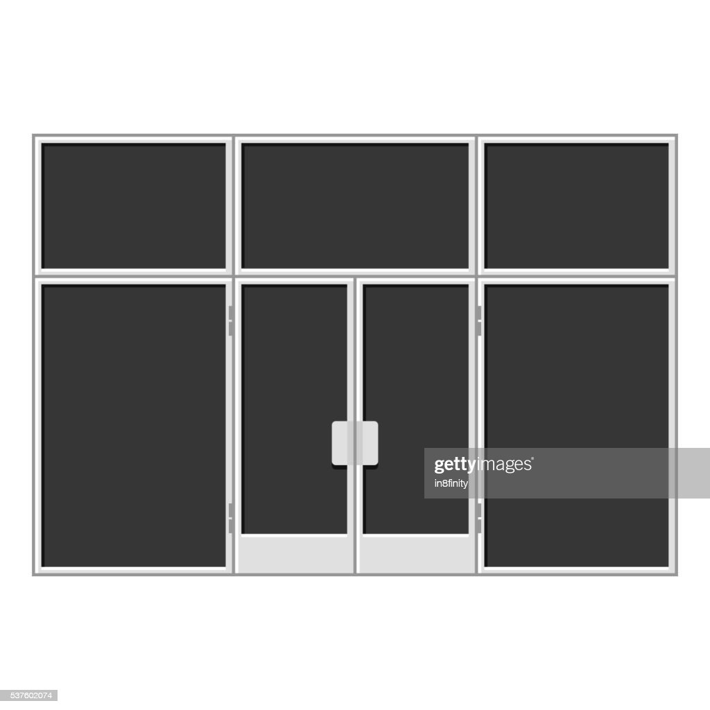White Shopfront with Large Black Blank Windows. Vector