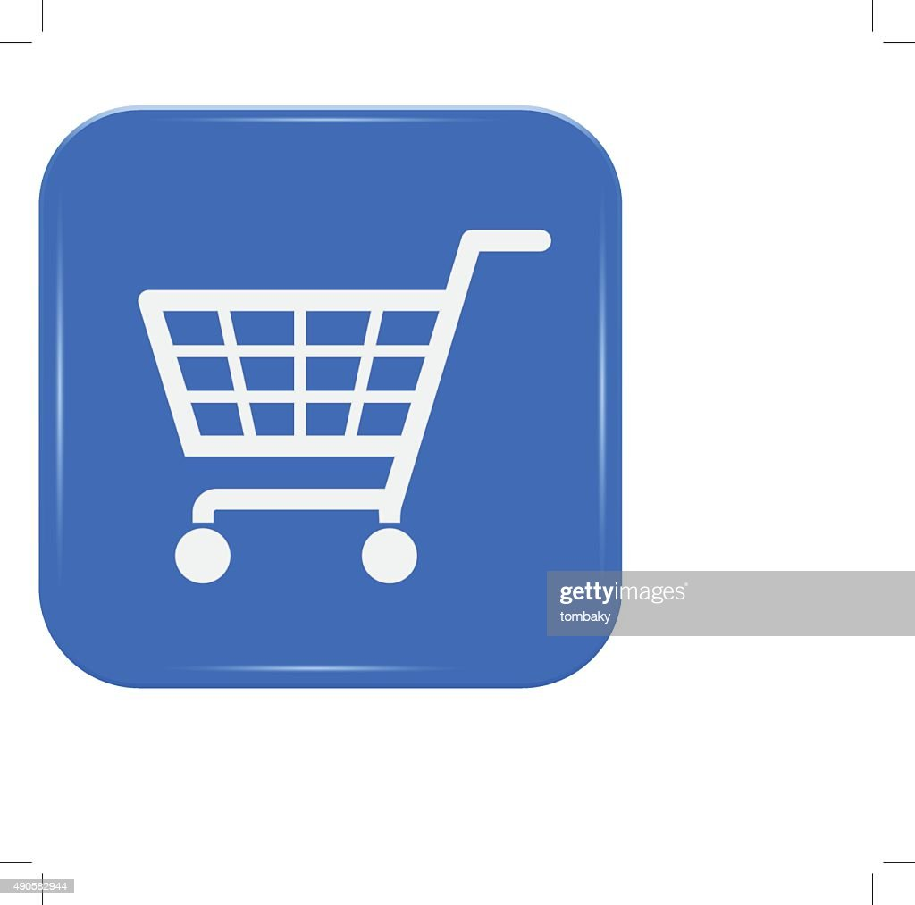 White shopping basket sign on blue button