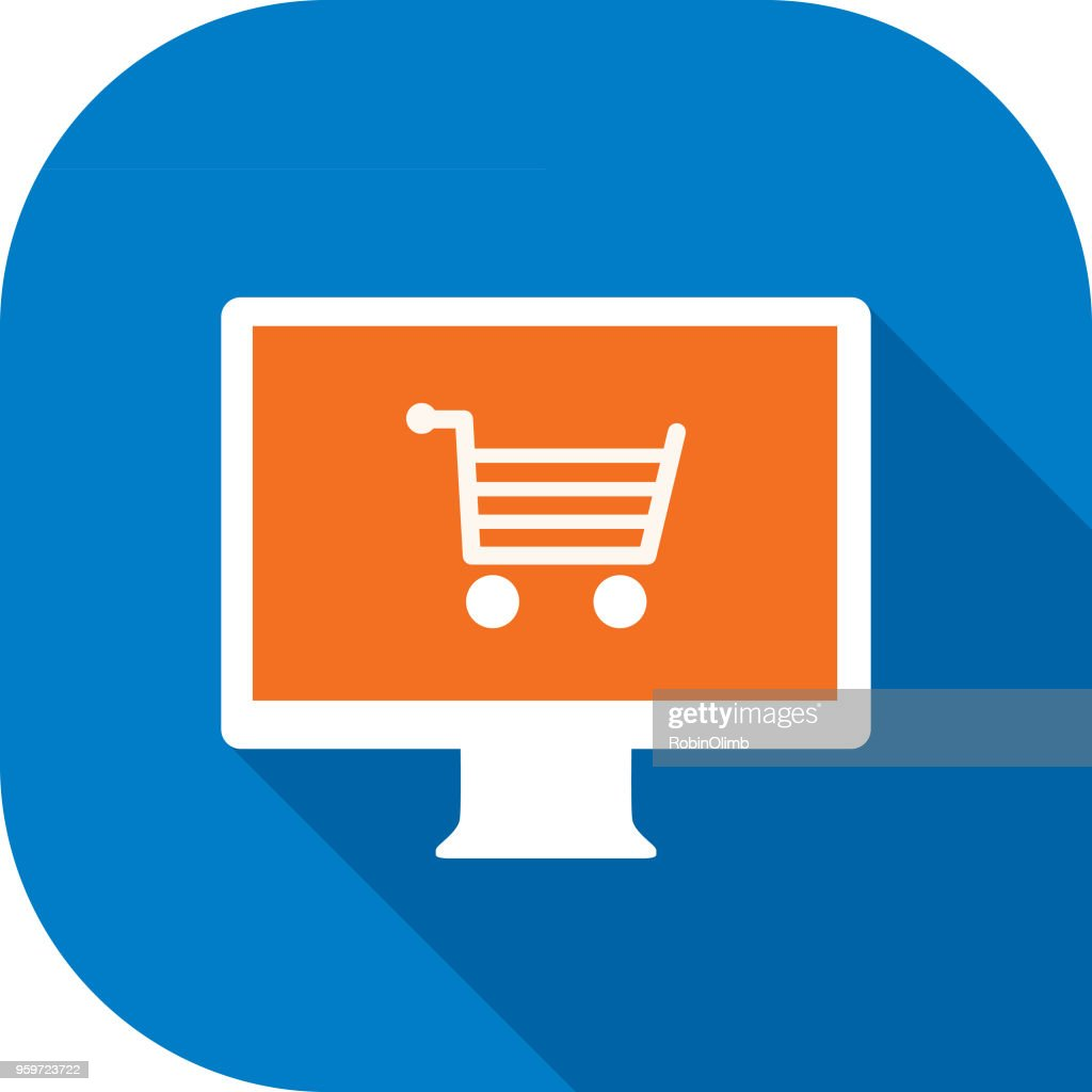 Shopping Cart Computersymbol weiß : Stock-Illustration