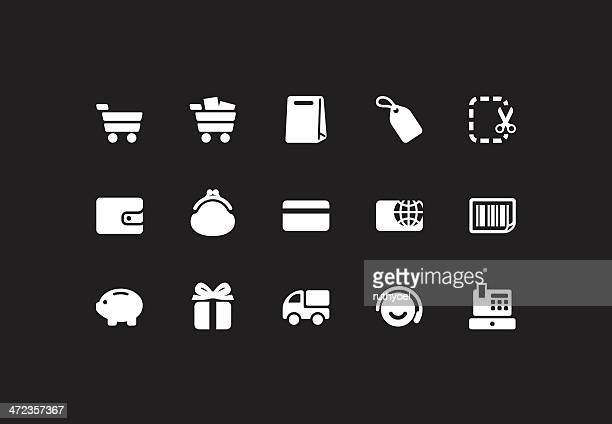 white shopping icons - cash flow stock illustrations, clip art, cartoons, & icons