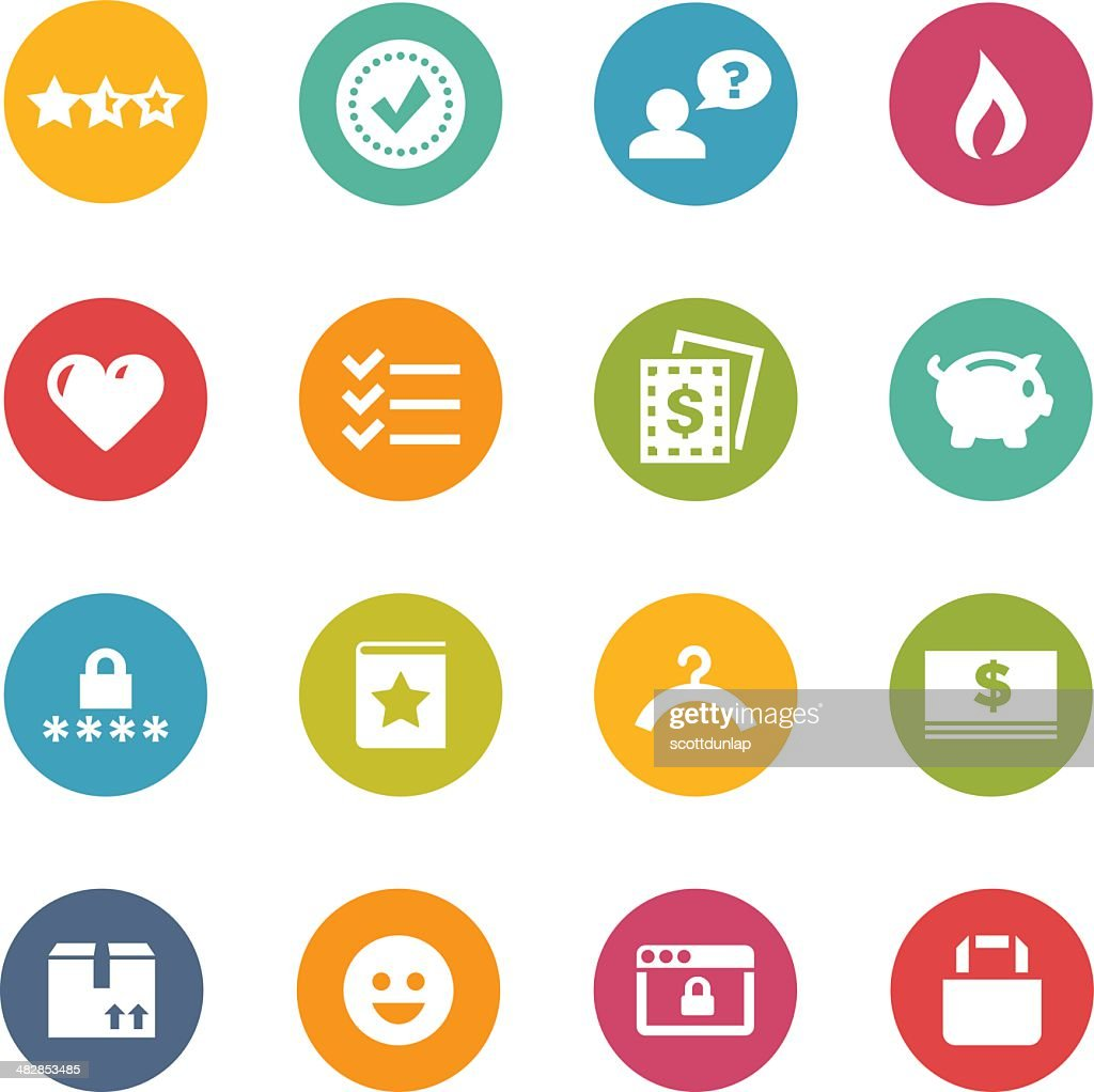 White shopping-themed icons on colored circles