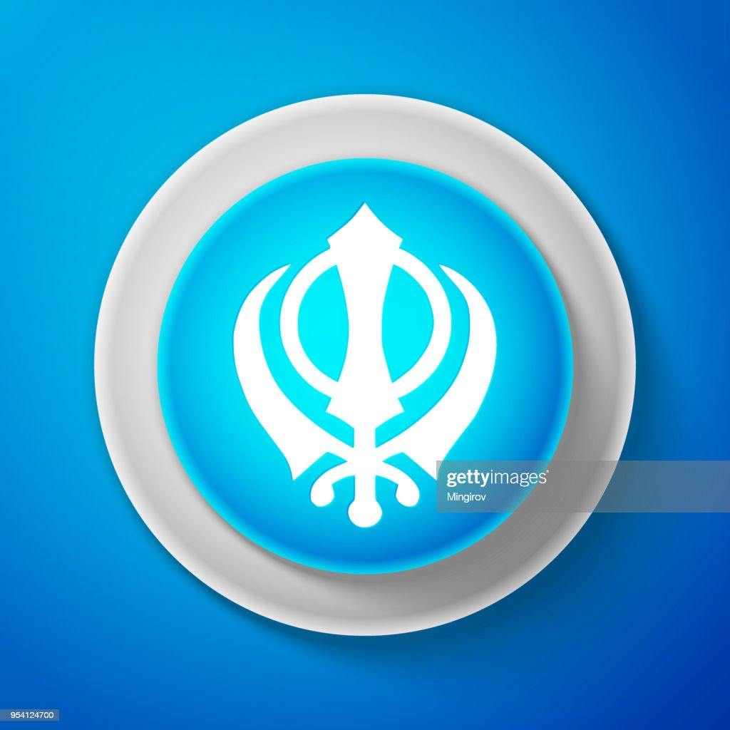 White Sikhism religion Khanda symbol icon isolated on blue background. Khanda Sikh symbol. Circle blue button with white line. Vector Illustration