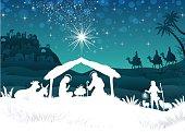 White Silhouette Nativity scene with Magi