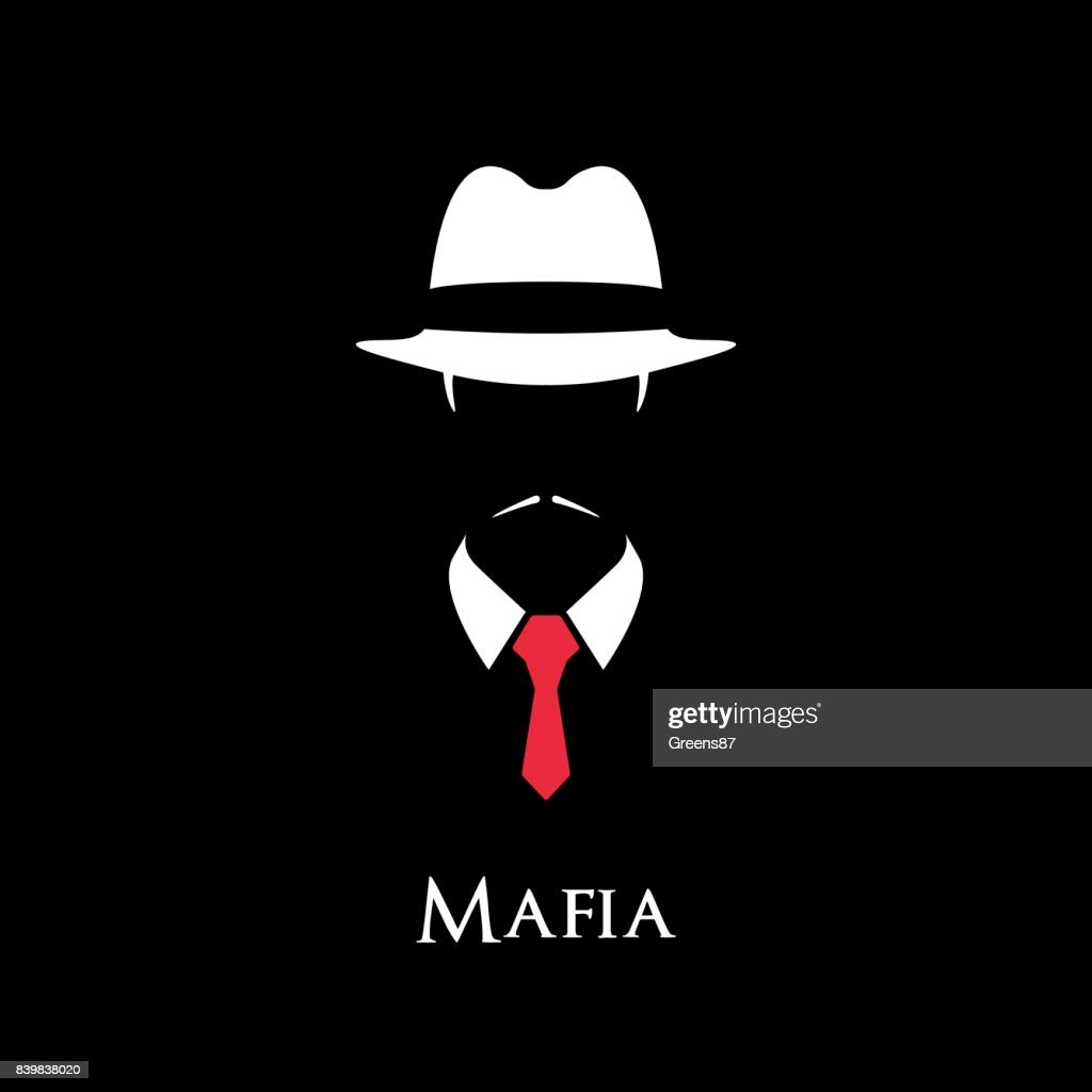 White Silhouette of an Italian Mafia with a red tie on a black background.