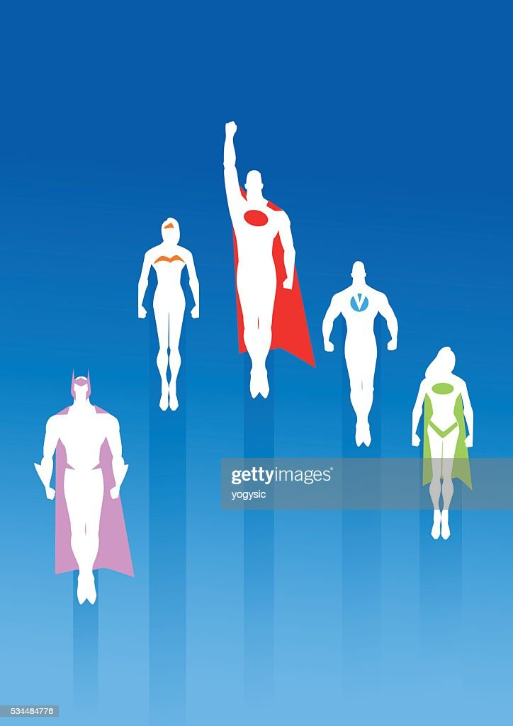 White Silhouette Team of Superheroes