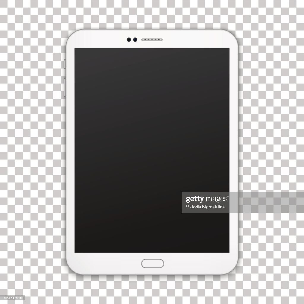 White single pad with empty screen isolated on transparent background.
