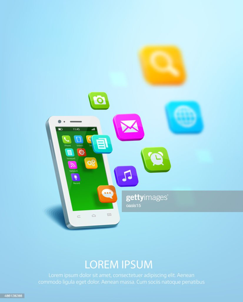 White smartphone with cloud of application colorful icons